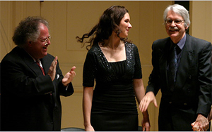 Maestro Levine, mezzo-soprano Tamara Mumford, and John Harbison<br />Photo by Hiroyuki Ito for The New York Times